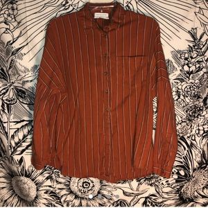 URBAN OUTFITTERS - orange pinstriped button down